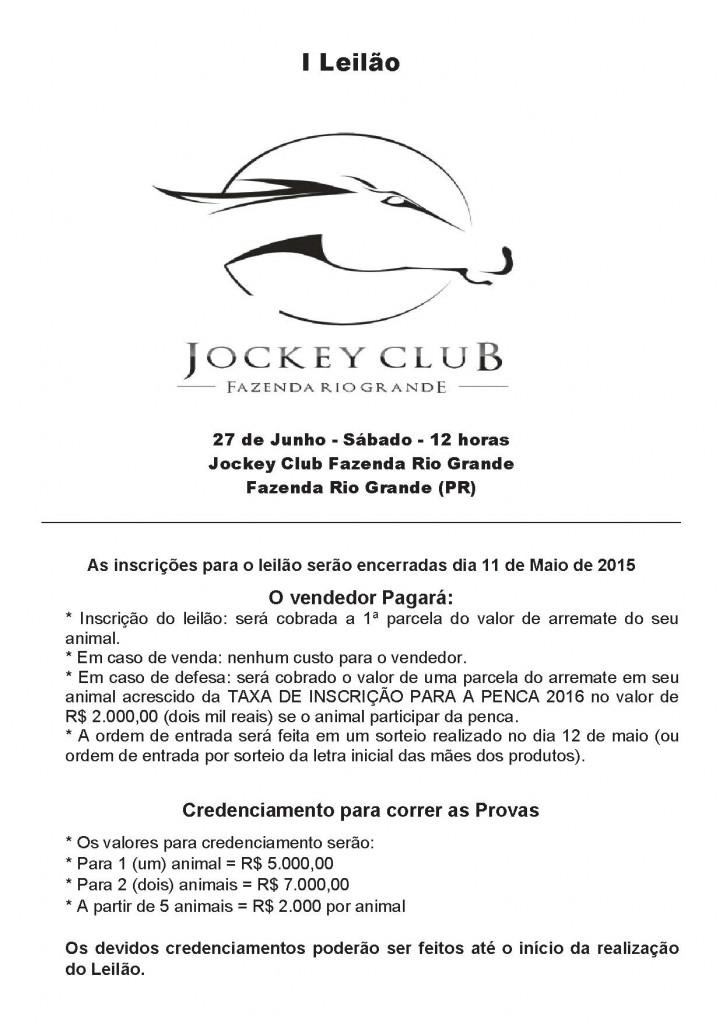 1 Leilão Jockey Club Fazenda Rio Grande